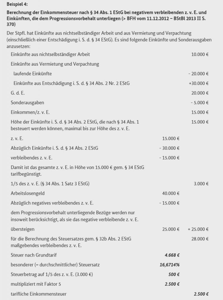 Steueroptimierung bei Abfindungen / Progressionseinkünfte und negatives zvE